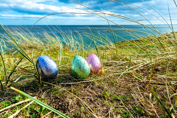 easter eggs beach Wales